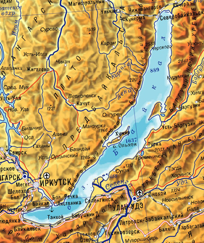Байкал имеет 636 км в длину и